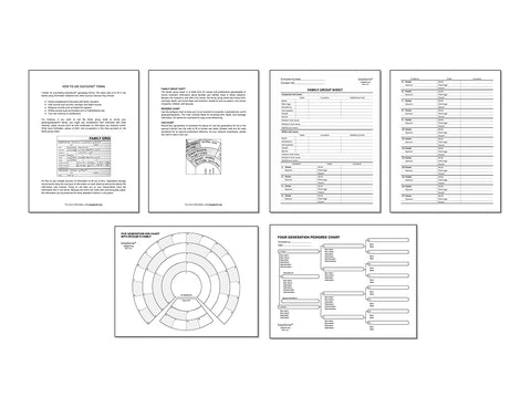 PDF Download: Large Print Genealogy Forms Kit | Pedigree, Fan, Family Group Worksheets