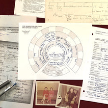 Load image into Gallery viewer, LARGE PRINT Five Generation Split Fan Charts for Genealogists (7-pack)