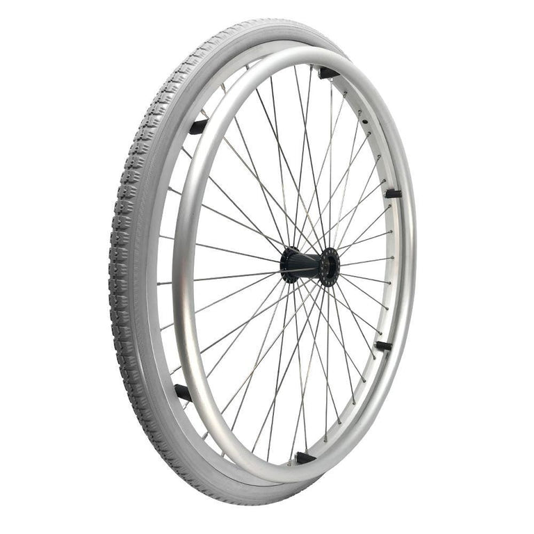 P-WAQ-24-01-01  24''x 1 3/8  Quick Release Aluminum Rim with PU Tires with Aluminum Hand Rim - Sanction Industry Co., Ltd.
