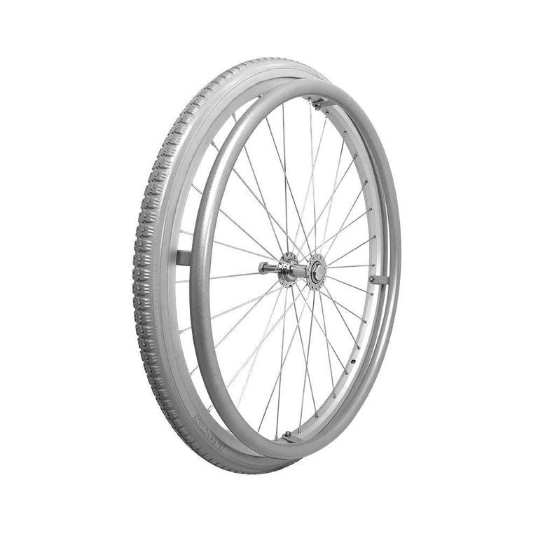 "P-WA-20-01-01   20'' x1 3/8"" Fixed Aluminum Rim with PU Tires with Aluminum Hand Rim - Sanction Industry Co., Ltd."