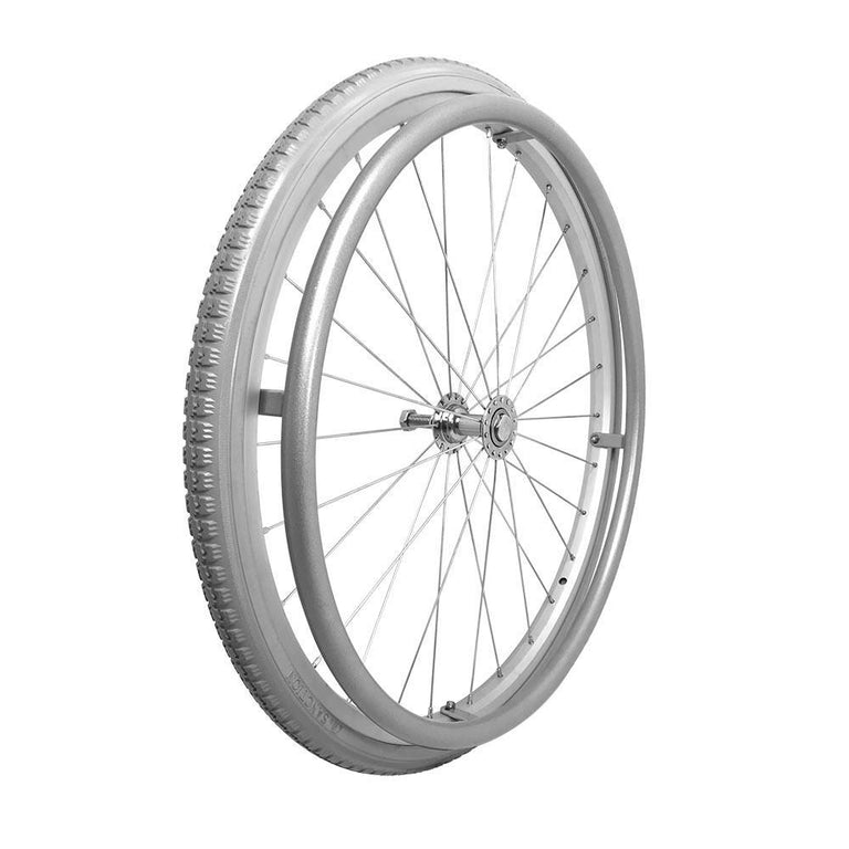 "P-WA-22-01-01    22''x1 3/8"" Fixed Aluminum Rim with PU Tires with Aluminum Hand Rim - Sanction Industry Co., Ltd."