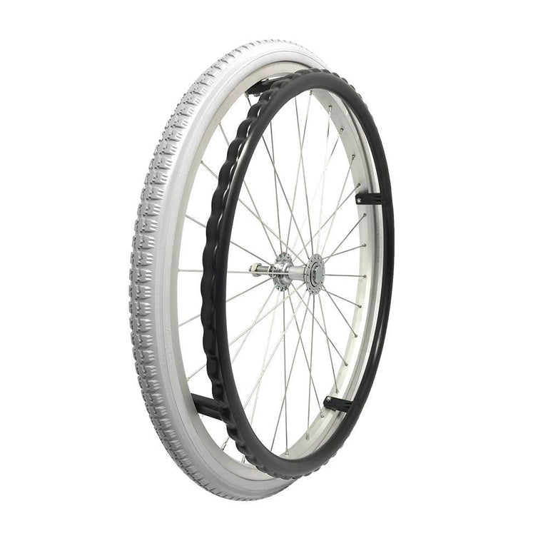 "P-WA-22-01-01    22''x1 3/8"" Fixed Aluminum Rim with PU Tires with Plastic Hand Rim - Sanction Industry Co., Ltd."