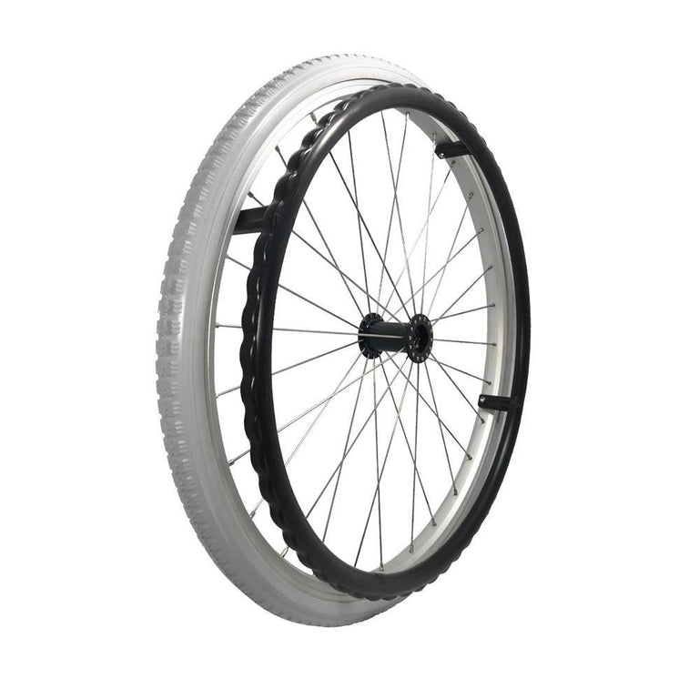 P-WAQ-22-01-02   22''x 1 3/8  Quick Release Aluminum Rim with PU Tires with Plastic Hand Rim - Sanction Industry Co., Ltd.