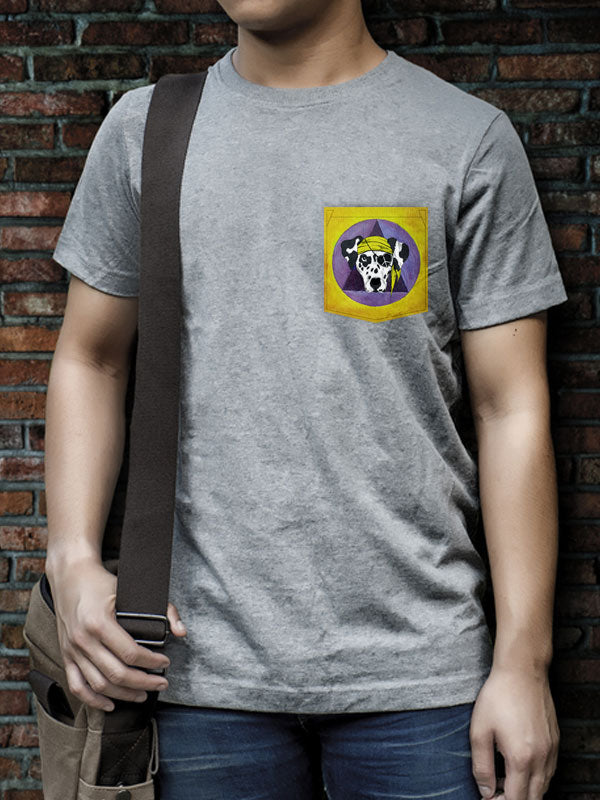 Pirate Dog 2 - Pocket Tee | Light Grey