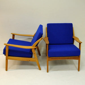 Pair of Danish Armchairs in blue fabric, Niels Koefoed - Denmark