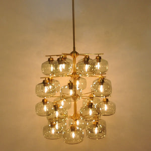 Amazing Chandelier with 24 glassdomes, Holger Johansson - Westal, Sweden 1952