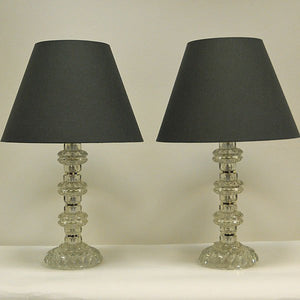 Crystal Table lamps from Kosta, Sweden 1960s, pair