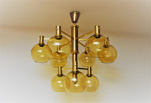 Swedish Ceiling Lamp of brass and glass 1960`s