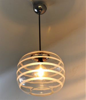 Ceiling Glass Schoollamp with frosted stripes 1925