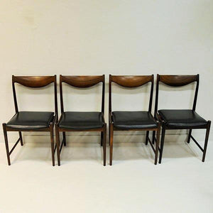 Set of Rosewood Diningchairs Darby with black leather, Torbjørn Afdal for Bruksbo, Norway 1960s