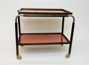 Art Deco Trolley with red trays on wheels 1930s, Sweden
