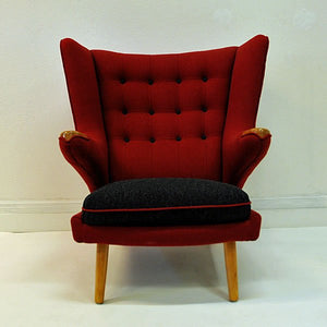 Red and massive Wingback armchair from around 1950`s, Scandinavian