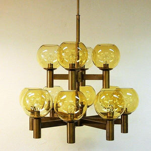 Big Ceiling Lamp of brass and glass 1960`s - Scandinavia