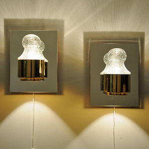 A pair of Wall lamps brass and glass 1970`s by Kjell Munch - Høvik Lys, Norway
