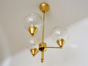 Brass Ceiling Lamp with Three Clear Glass Domes 1960`s - Sweden