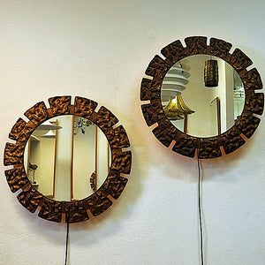 Pair of vintage Art Deco Wall mirrors with lightning 1930`s, Scandinavia
