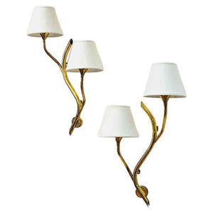 Midcentury pair of Norwegian branch brass Wall lamps from Astra 1950s