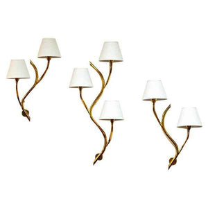 Set of Three midcentury Norwegian branch brass Wall lamps from Astra 1950s