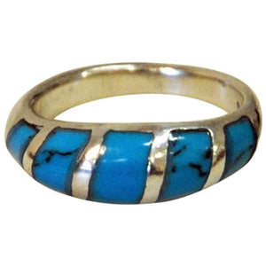 Sterling silverring with clearblue stone and black patterns 1960s, Scandinavian