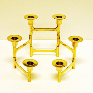 Scandinavian adjustable Brass Candlestick Holder 6 candles, 1970s