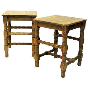 Swedish Pine stool pair in barock style 1920s