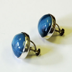 Pair of blue stone silver earrings by Asp AB, Sweden 1971