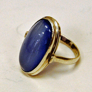 Classic Blue oval stone silvering 1950s