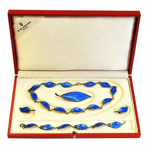 Beautiful Blue midcentury jewelry set by Willy Winnæss 1955 -Norway