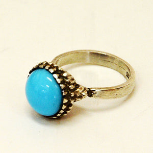 Silver ring with light blue stone 1950s