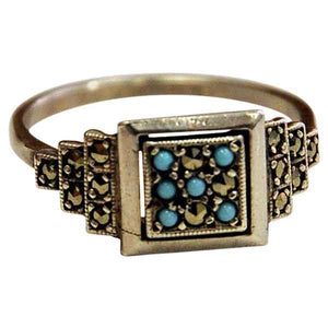 Scandinavian Silver ring with small blue and clear stones 1970s