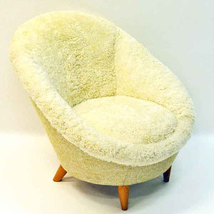 Midcentury Florida Easy chair in sheepskin, Vatne Lenestolfabrikk - Norway 1950s