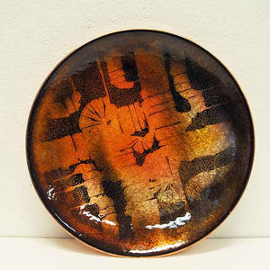 Vintage enamelled copper dish by Drangsgaard, Norway 1960s