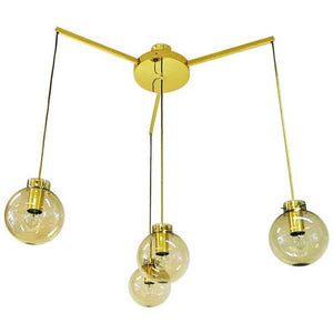 Large ceilinglamp of brass and glass by Høvik Verk, Norway 1970s