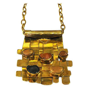 Square naturstone and brass necklace by Anna Greta Eker, Norway 1960s