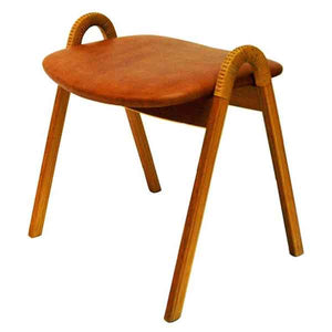 Midcentury leather stool by Bjørn Engø for Gustav Bahus 1950s, Norway