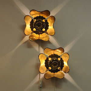 Vintage Brass wall Flower sconces pair by Lars Holmström, 1950s Sweden