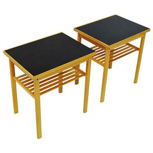 Swedish pair of midcentury Oak and Glass top side tables -Sweden 1960`s