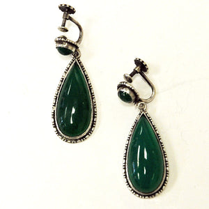 Pair of Green Drop down ear rings Scandinavian 1970s