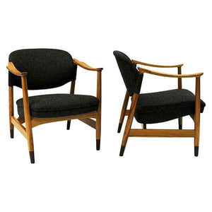 Norwegian pair of elmtree vintage armchairs by Olav A. Hessen 1950s