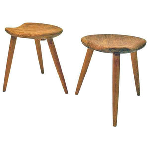 Midcentury stool pair by Norsk Husflid 1940 and 1960s Norway