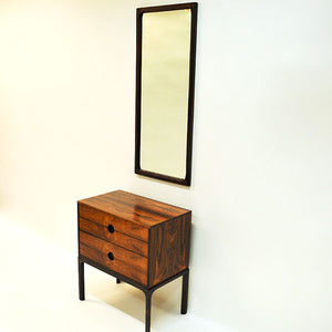 Rosewood mirror and drawer midcentury set by Kai Kristiansen- Denmark 1950`s