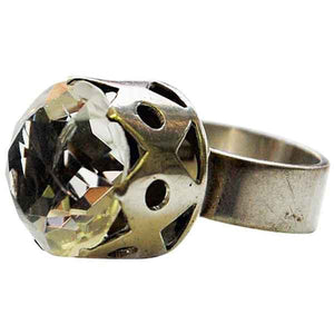 Crystal brilliantcut stone silver ring by Kaplan Stockholm 1967