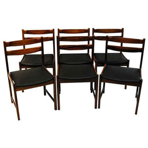 Midcentury Rosewood Diningchairs with Leatherette seats `Bruksbo`, Norway 1960s