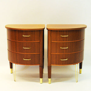 Midcentury pair of roundshaped Mahogany small tables, Scandinavia 1950`s