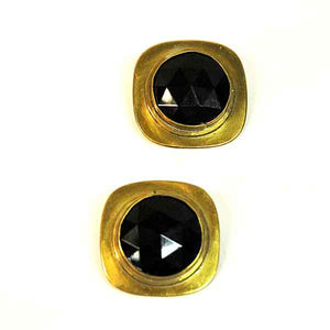 Brass vintage Clip on Earrings by Anna Greta Eker, Norway 1960s