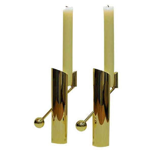 Brass candle holder pair Variabel by Pierre Forsell for Skultuna, Sweden 1960s