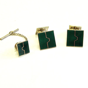 Cufflinks and tie pin set by Willy Winnæss 1970-80s, Norway