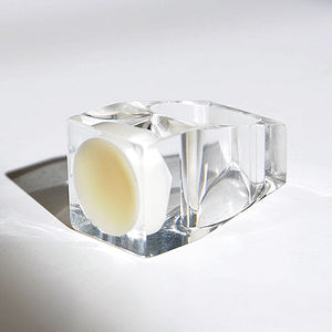 Acrylic vintage ring with round white plate by Siv Lagerström 1970`s, Sweden