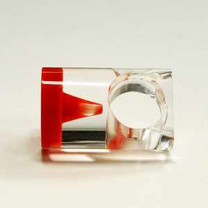 Acrylic vintage ring with round red plate by Siv Lagerström 1970`s, Sweden