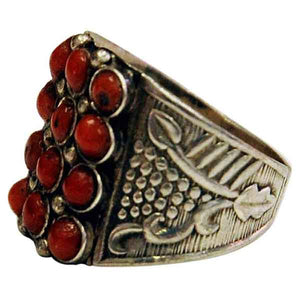 Petite red stone decorated silvering 1940s